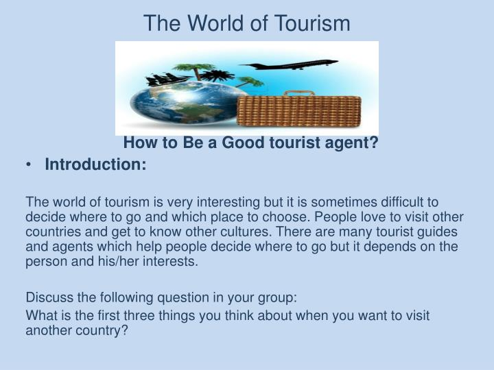 the world of tourism n.