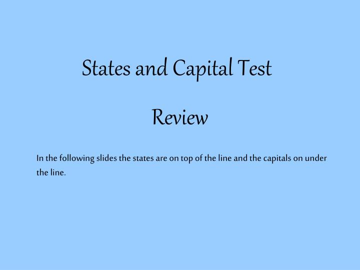 States and capital test