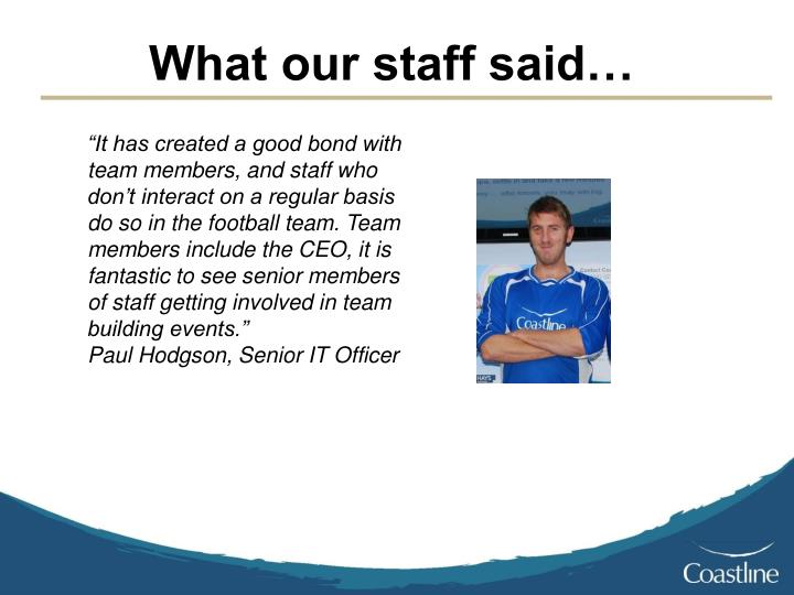 What our staff said…