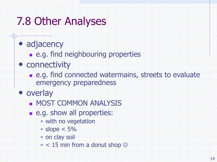 7.8 Other Analyses