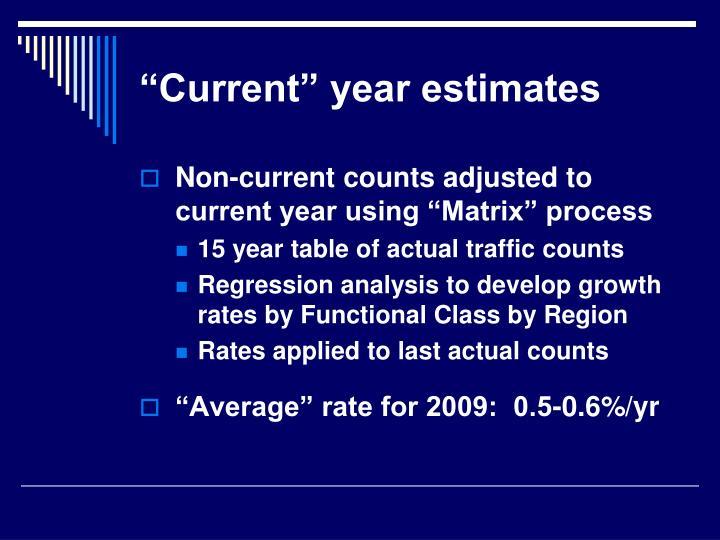 """""""Current"""" year estimates"""