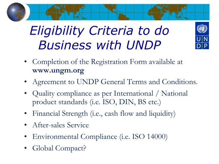 Eligibility Criteria to do Business with UNDP