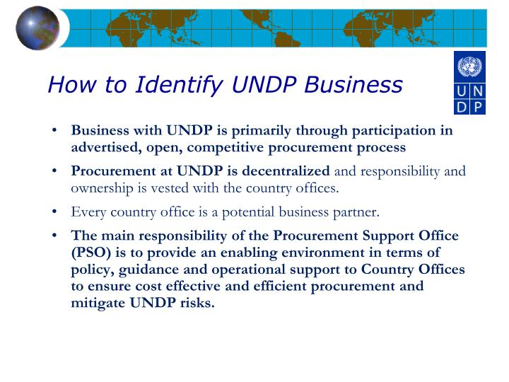How to Identify UNDP Business
