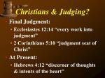 christians judging