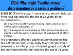 dq14 why might familial status discrimination be a serious problem