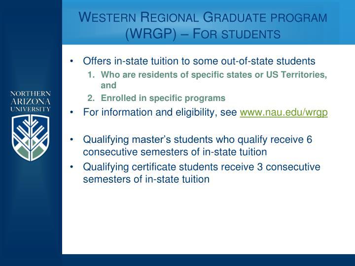 Western regional graduate program wrgp for students
