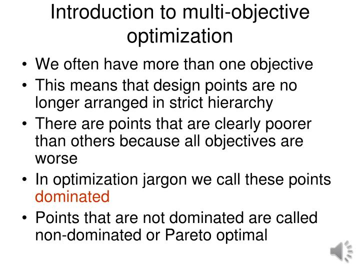 introduction to multi objective optimization n.