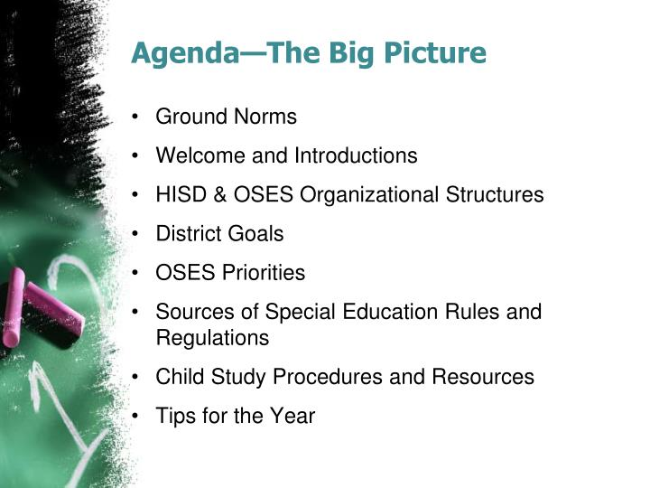 Agenda the big picture