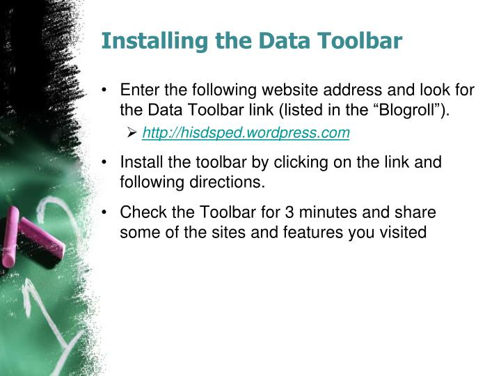 Installing the Data Toolbar