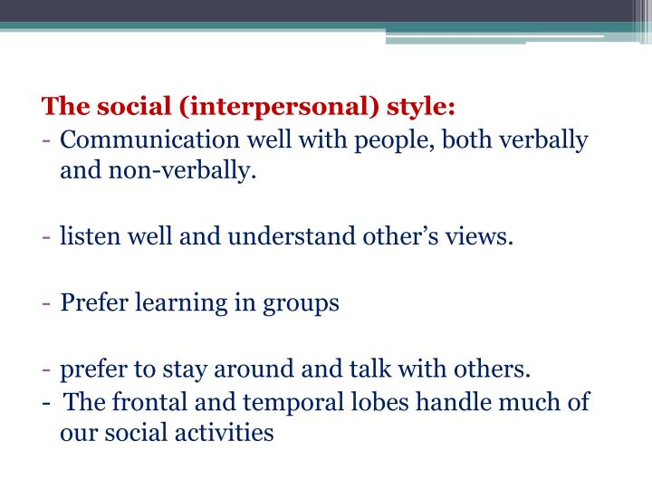 The social (interpersonal) style: