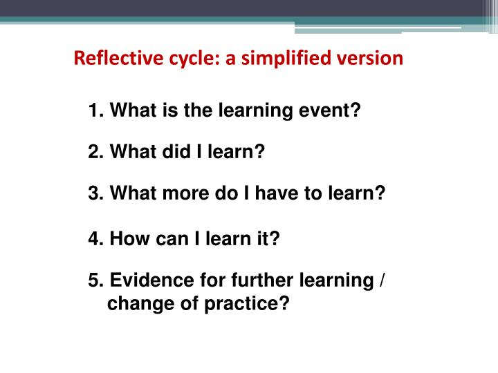 Reflective cycle: a simplified version