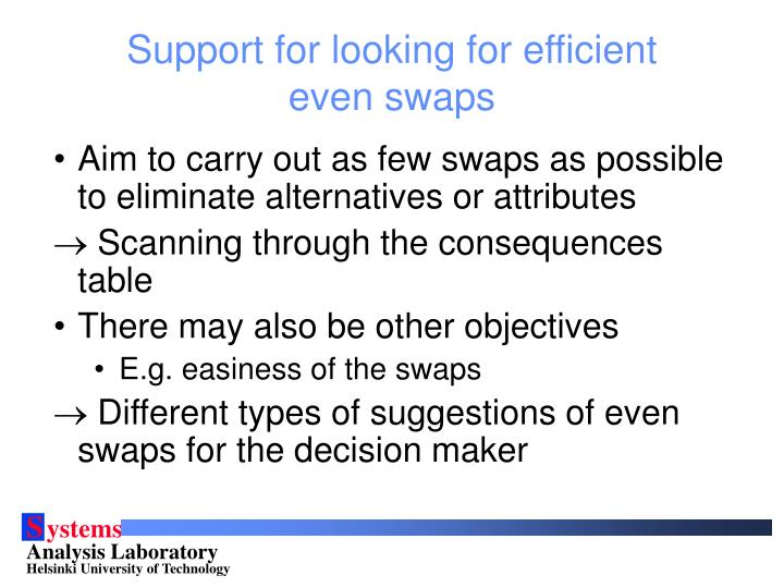 Support for looking for efficient even swaps