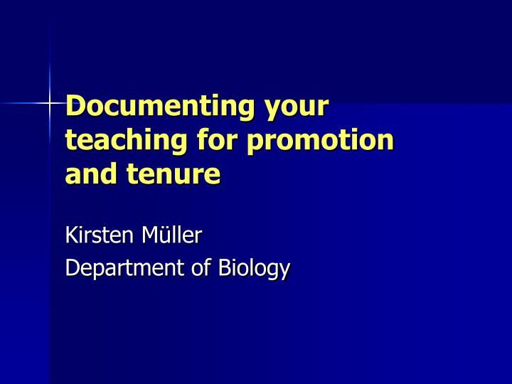 documenting your teaching for promotion and tenure n.