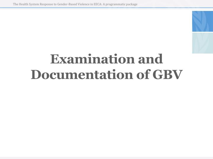 examination and documentation of gbv n.