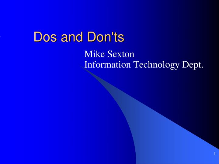 dos and don ts n.
