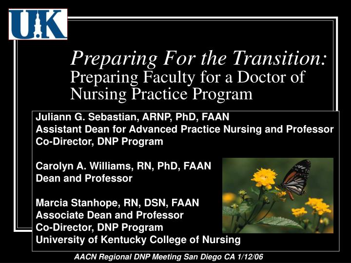preparing for the transition preparing faculty for a doctor of nursing practice program n.