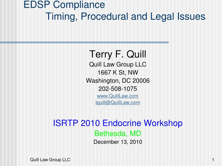 edsp compliance timing procedural and legal issues n.