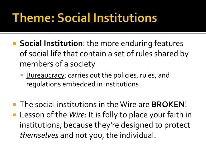 Theme social institutions