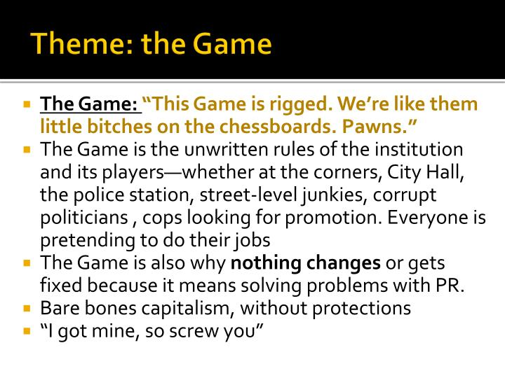 Theme: the Game
