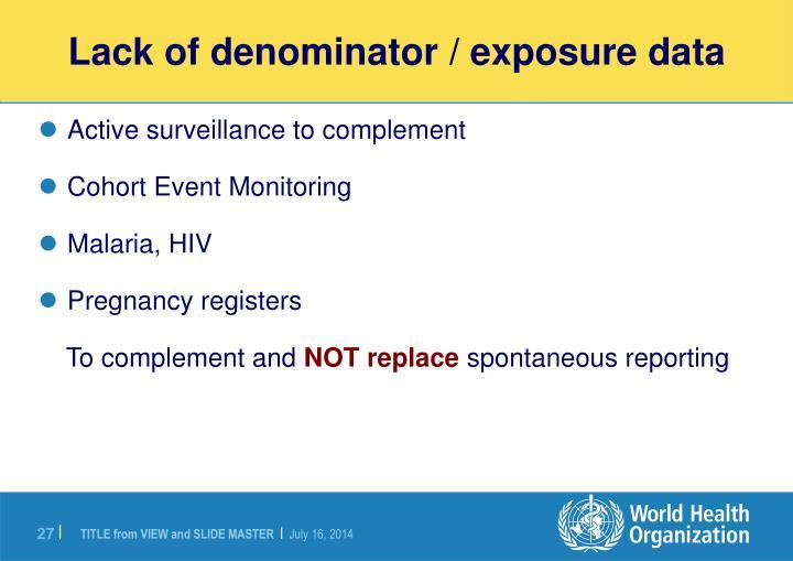 Lack of denominator / exposure data