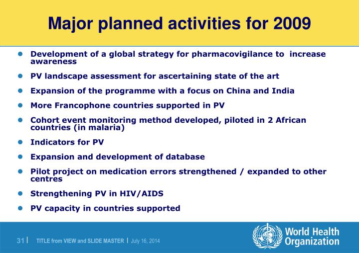 Major planned activities for 2009