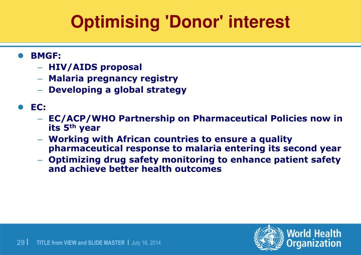 Optimising 'Donor' interest