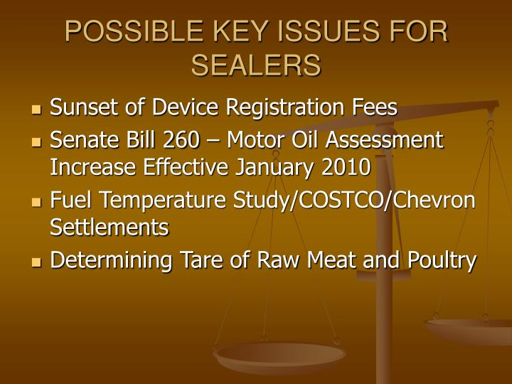 possible key issues for sealers n.