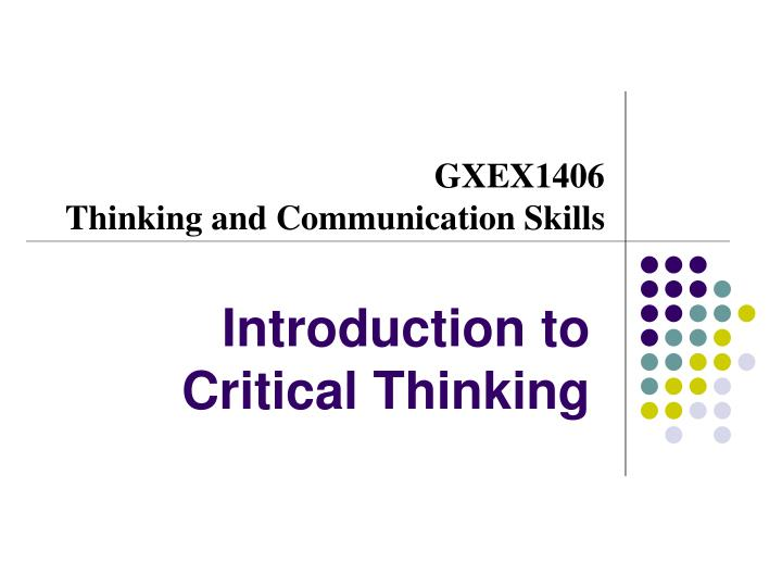 introduction to critical thinking n.