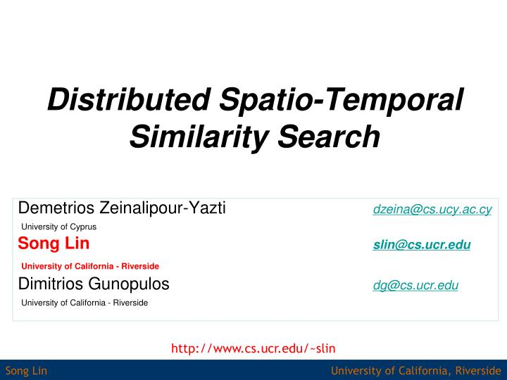 distributed spatio temporal similarity search n.
