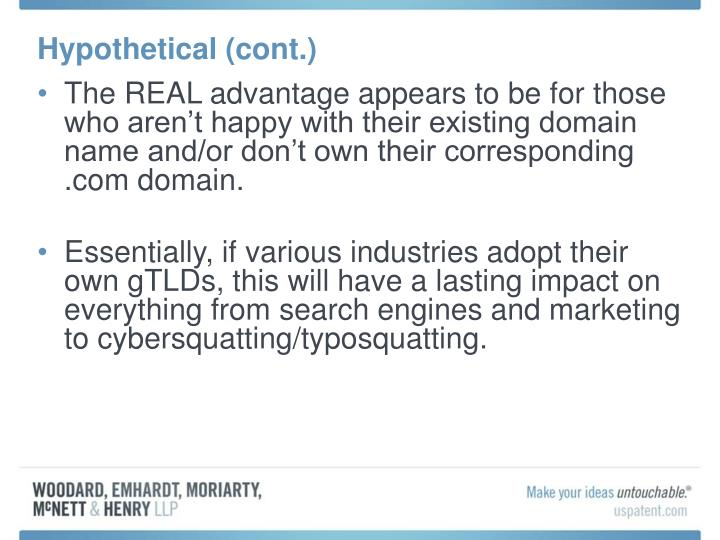 Hypothetical (cont.)