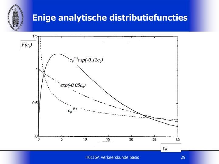 Enige analytische distributiefuncties