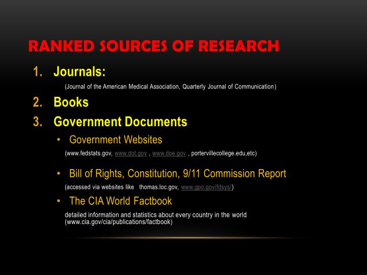 ranked sources of research n.