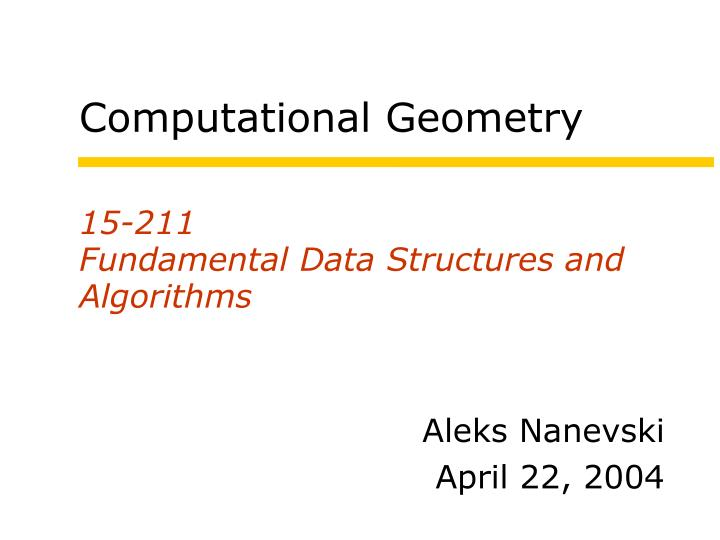 15 211 fundamental data structures and algorithms n.