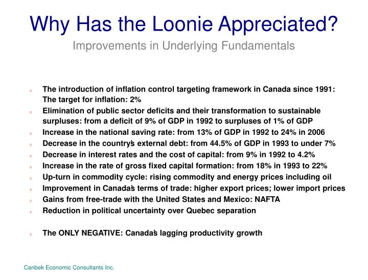 Why Has the Loonie Appreciated?