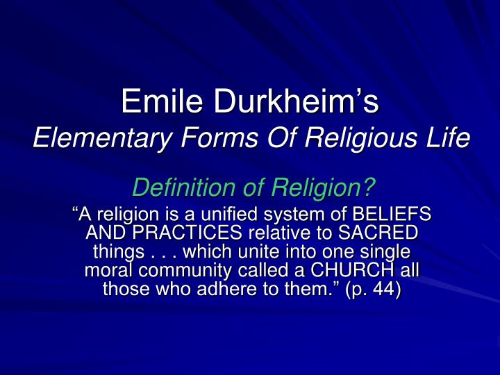 Emile Durkheim's