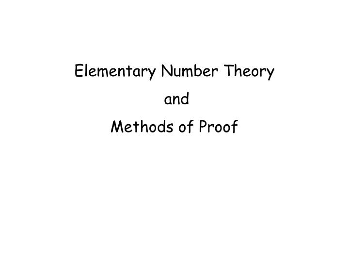 elementary number theory and methods of proof n.