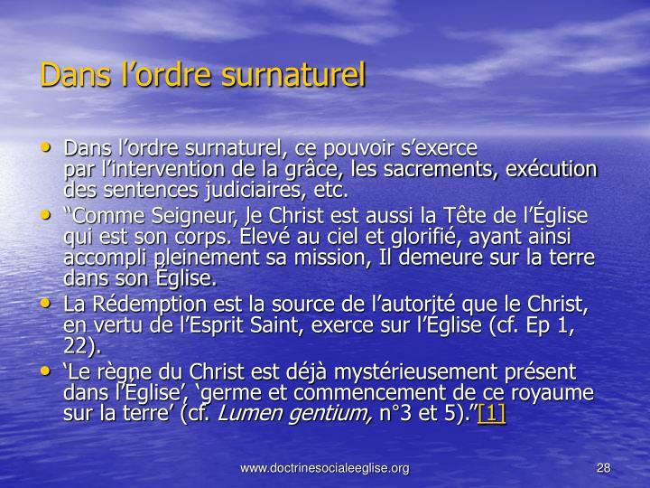 Dans l'ordre surnaturel