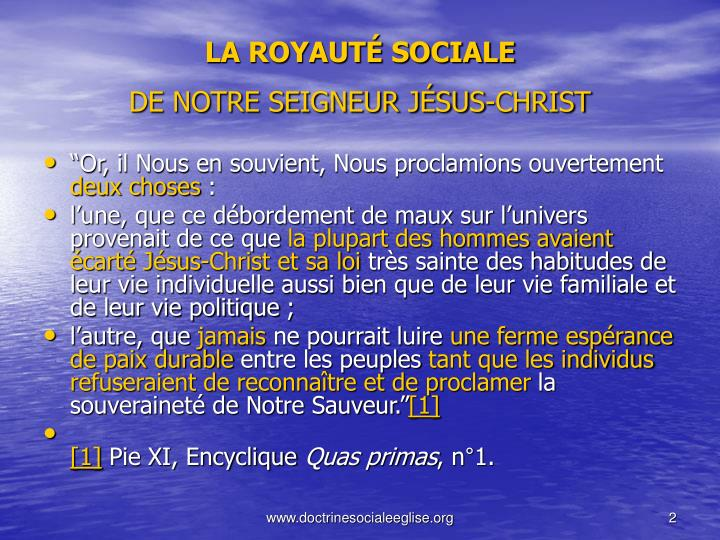 La royaut sociale de notre seigneur j sus christ