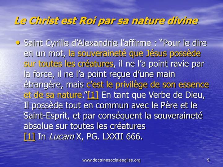 Le Christ est Roi par sa nature divine