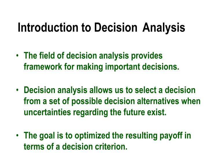 introduction to decision analysis n.