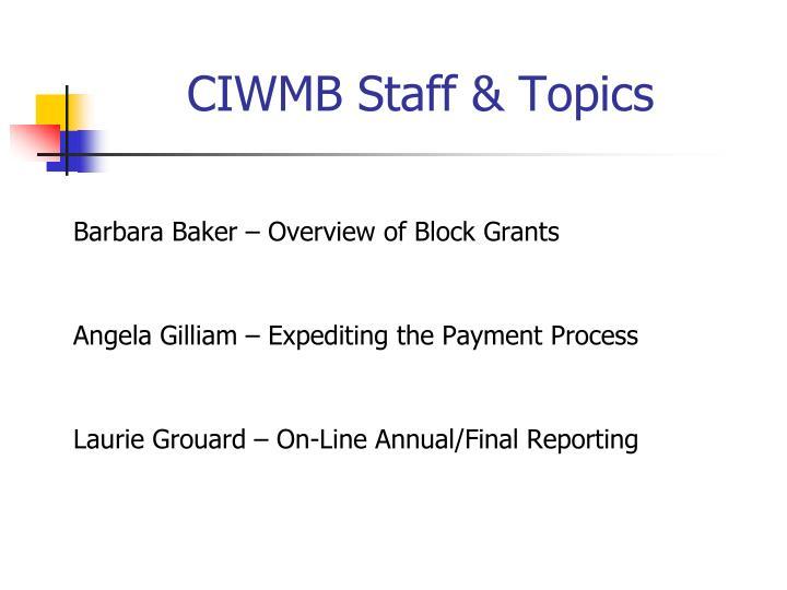 Ciwmb staff topics