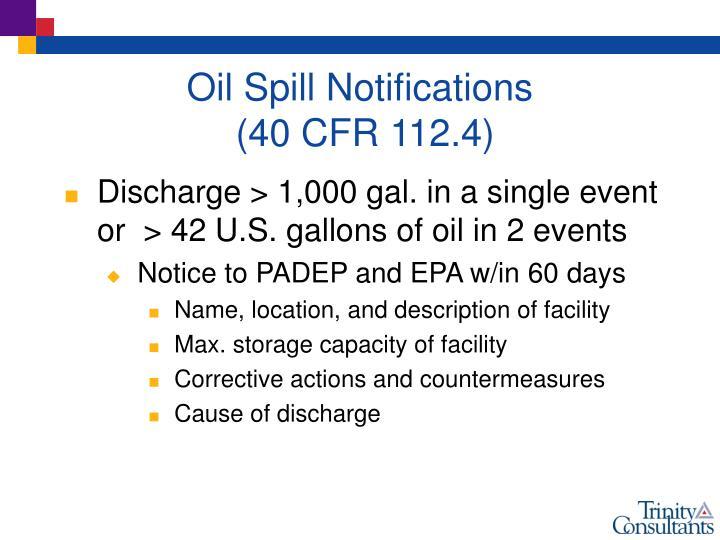 Oil Spill Notifications