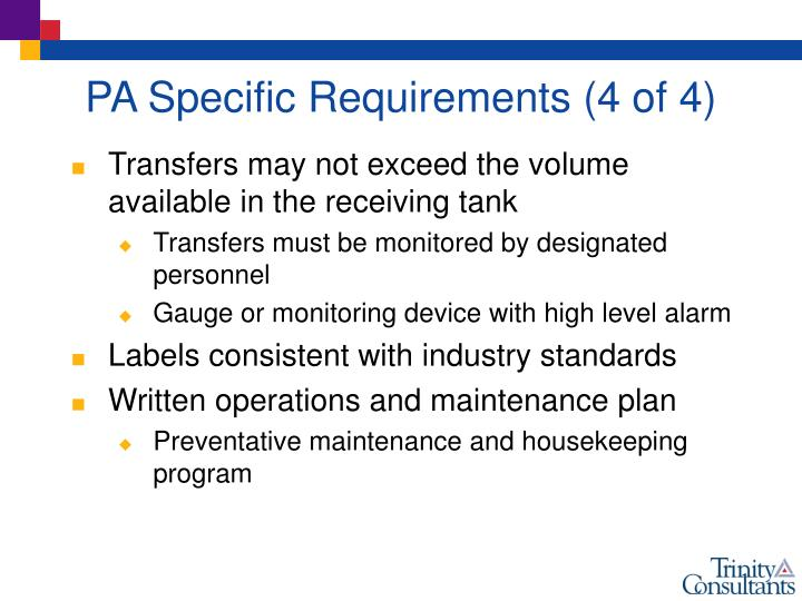 PA Specific Requirements (4 of 4)