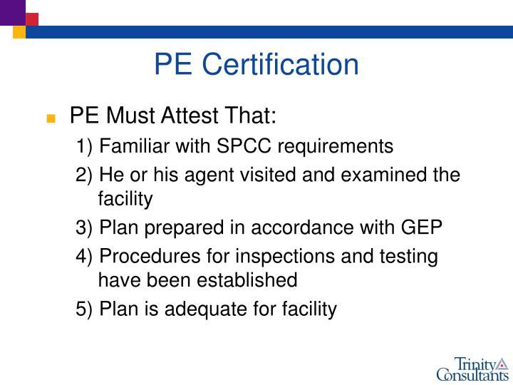 PE Certification