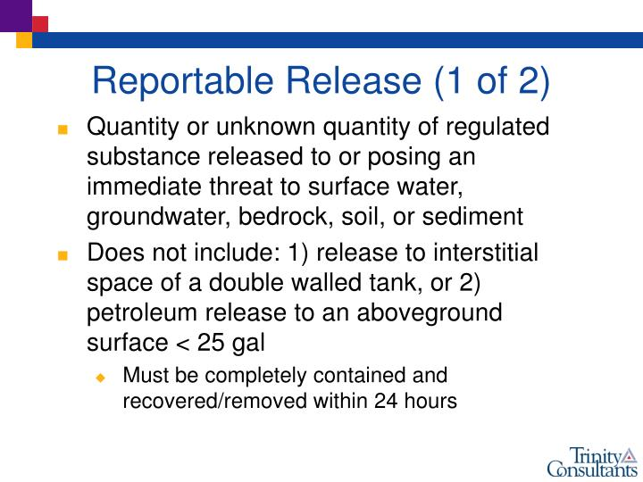 Reportable Release (1 of 2)