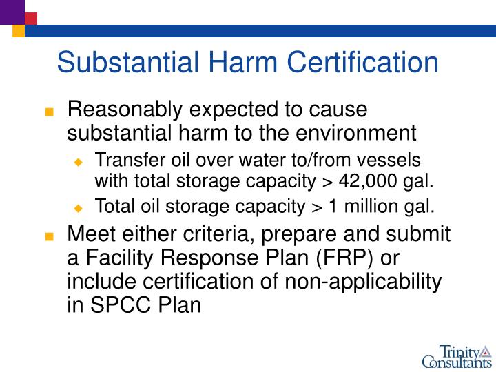 Substantial Harm Certification