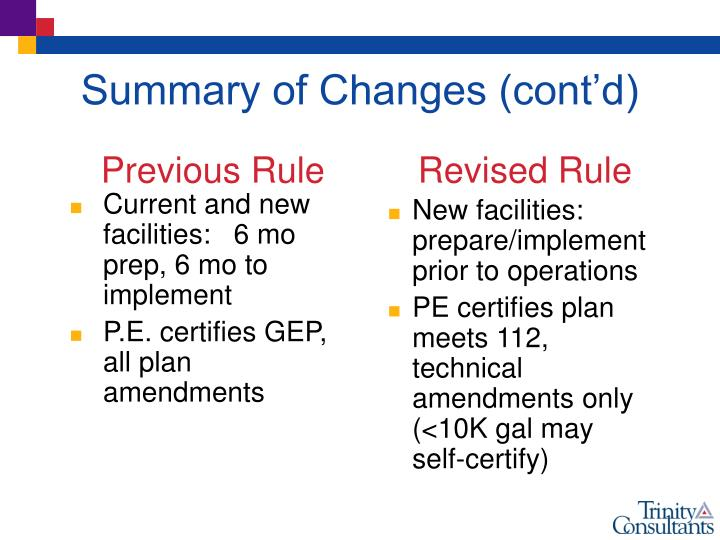 Current and new facilities:   6 mo prep, 6 mo to implement