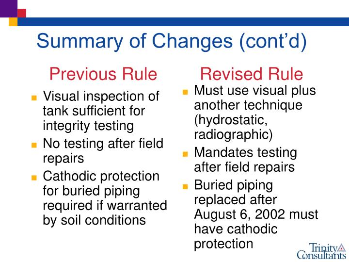 Visual inspection of tank sufficient for integrity testing