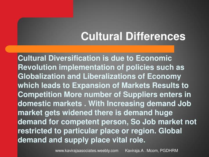 cultural differences n.