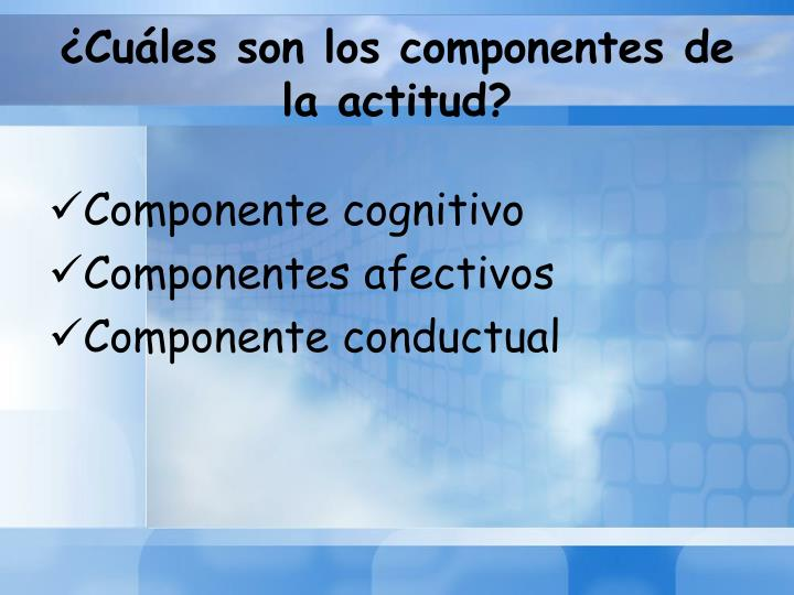 ¿Cuáles son los componentes de la actitud?